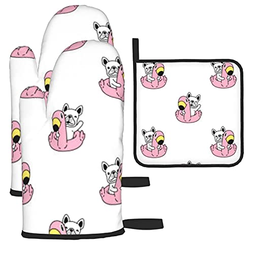 Oven Mitts and Pot Holders,French Bulldog Swimming Ring Flamingo Soft Cotton Lining and Non-Slip Surface Safe for Baking, Cooking, BBQ