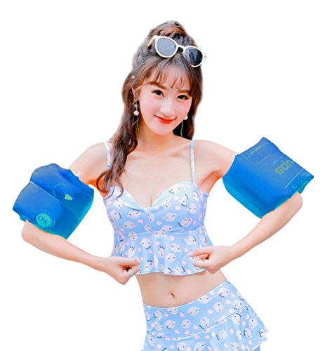 Topsung Floaties Inflatable Swim Arm Bands Rings Floats Tube Armlets for Kids and Adult Blue