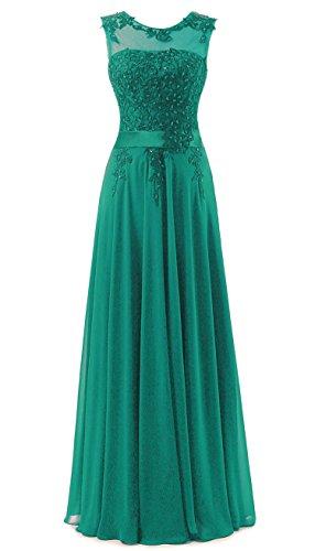 Vantexi Damen Spitze Chiffon Lang Formale Abendkleid Ballkleid Festkleider Smaragd Größe 34