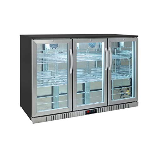 Procool Residential 3-door Glass Front Stainless Steel Back Bar Cooler; Undercounter 33' Height