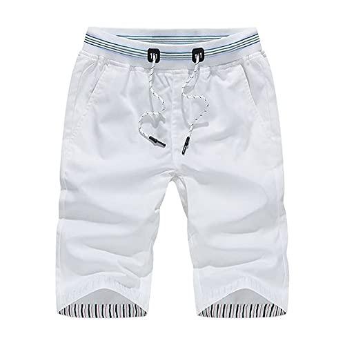 N\P Pantalones cortos de algodón casuales para hombre de verano de viaje de playa para hombres, blanco, 4X-Large