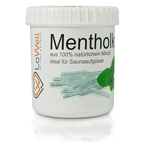 LoWell 100g - Menthol Crystals, Large Ice Crystals, Menthol, 100% Pure Mint  - with Practical tin - Pharmaceutical Quality for Sauna infusions