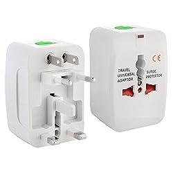 CLASSYTEK Universal Worldwide AC Power Plug Surge Protector All in One AU UK US EU Adapter Adaptor, White