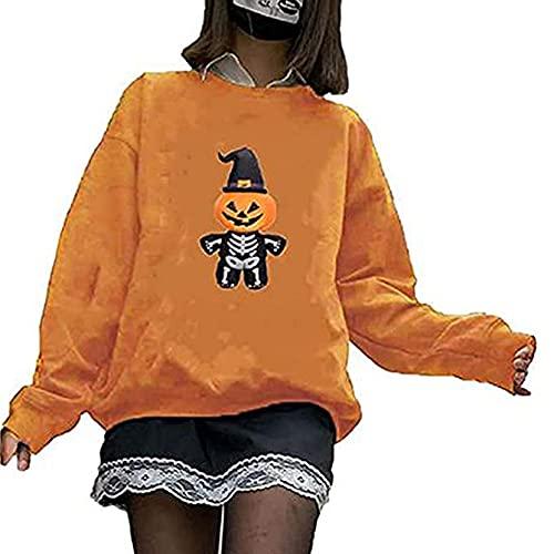 Yishengp Sudadera con estampado de esqueleto de Halloween para mujer Y2K Harajuku estética de manga larga suelta Streetwear Blusa Top, naranja, L