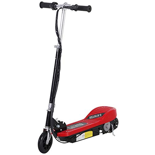 Patinete Eléctrico Plegable tipo Scooter con Manillar Ajustable - Color Rojo - 81.5x37x96cm