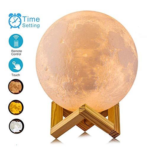 ACED Mond Lampe, 3D-Druck dimmbar Luna Night lighttwo Farben Farbwechsel Touch stufenlos dimmbar mit USB-Port - 3.9Inch(10cm)