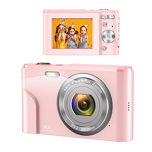 Digital Camera, wechi 1080P HD Digital Students Cameras Pink Video Camera Vlogging Camera with 16X Digital Zoom, Mini Camera for Kids/Teens/Seniors/Beginners