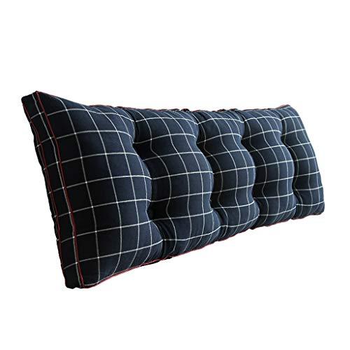 Qifengshop Lendenkissen Lendenkissen Tatami Lendenkissen Bett rechteckiger Bettkopf Lendenkissen Sofa Lesekissen Bequeme Rückenlehne abnehmbar und waschbar (Color : Blue, Size : 180 * 20 * 50CM)