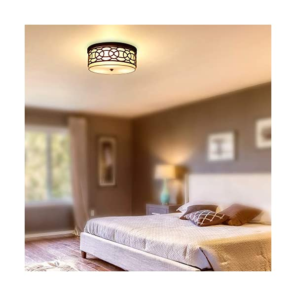 RUNTOP 15″ Modern 3-Light Fixture Flush Mount Ceiling Light + Metal Drum Shade + White Fabric Shade,Hallway Light Fixtures Ceiling (Oil-Rubbed Bronze Finish)