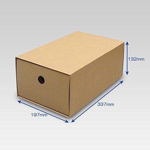 靴箱[引き出しタイプ] 大(320×180×120) クラフト 10枚セット (シューズボックス ダンボール 段ボール 靴収納ボックス 1足用)