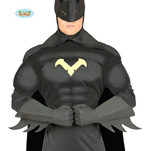 Amakando Comic Held Handstulpen - schwarz - Batman Handschuhe Superheld Kostüm Zubehör Super Hero Herrenhandschuhe Superhero Fäustlinge Batman Handschuhe