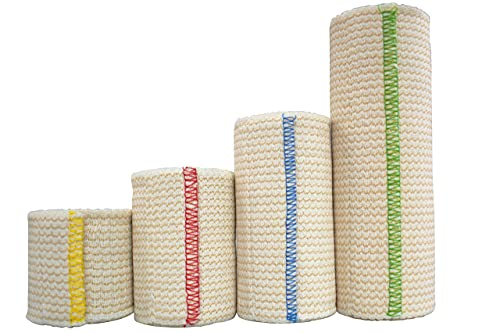 """NexSkin Elastic Compression Wrap (2"""" 3' 4' 6' Variety Pack) with Hook and Loop Fasteners at Both Ends 