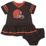 NFL Cleveland Browns Team Jersey Dress and Diaper Cover, Brown/Orange Cleveland Browns, 18 Months
