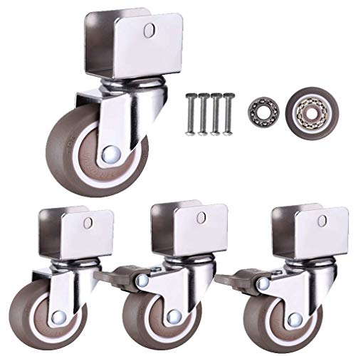 Swivel Caster Wheels for Cribs,with U-Type Bracket,1in 25mm Rubber Furniture Castor with Brakes,Mute,Ball Bearings,Capacity 50kg,Set of 4,with Screws (18MM-U Bracket,2Swivel+2Brake) Universal