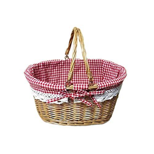 Wicker Red Gingham Lined Hamper Picnic Basket,Brown, 38 x 28 x 18 cm