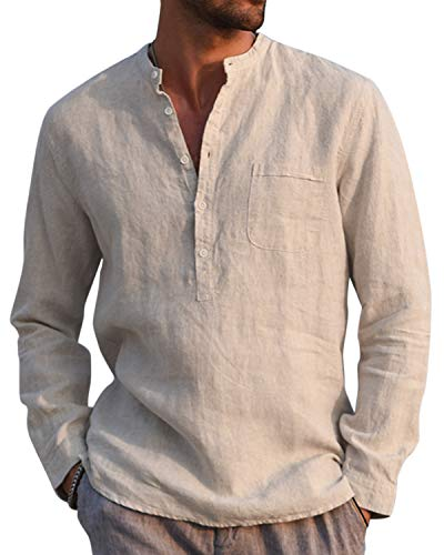 AUDATE Baumwolle Leinenhemd Herren Herbst Winter Hemd Langarm Regular Fit Freizeithemd Shirts Khaki L