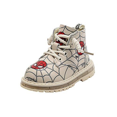 YEMAO Garçons Filles Spiderman Bottes Courtes Hiver Dessin animé Plus Velours Martin Bottes Enfants Mode étanche Chaussures pour Tout-Petits,Beige-21EU