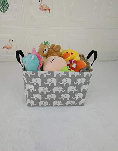 KUNRO Rectangular Canvas Storage Bin Waterproof Toy Organizer with Handles for Organizing Shelf Nursery Home Closet,Kid's Toy & Laundry,Gift Baskets(Rectangle Elephant)
