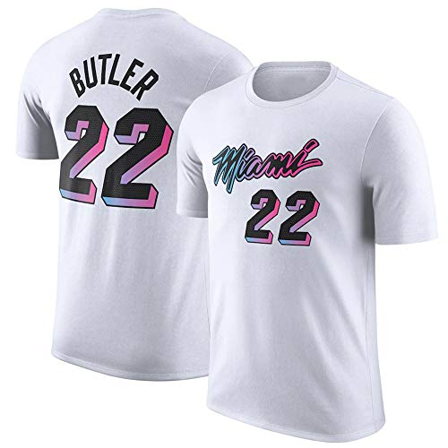 Ordioy Camiseta de la NBA, Camisetas de los Aficionados al Baloncesto de Jimmy Butler # 22 Miami Heat, Camiseta Unisex de Manga Corta Bordada Swingman,Blanco,L