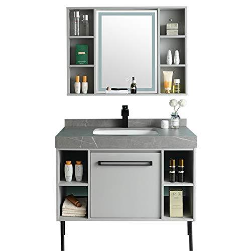 JenLn Simple Tablero de Roca baño gabinete Espejo gabinete combinación combinación vanidad Madera sólido baño gabinete Conjunto Fregadero de cerámica con gabinete de Medicina.
