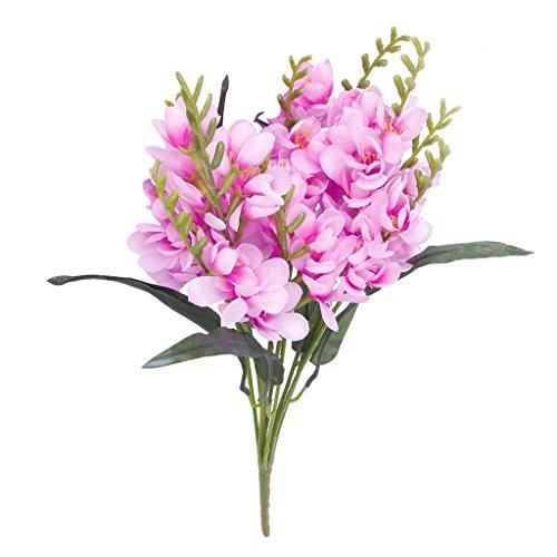 wivarra 1 x Kuenstlicher Freesie Blumenstrauss mit 9 Gabel Vorbauten Fuer Hauptbuero Hochzeits Dekor