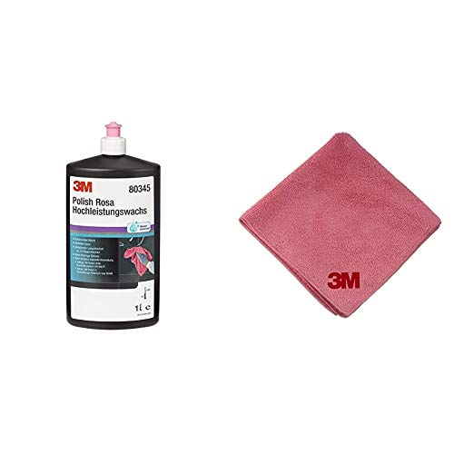 3M 80345N Polierpaste Polish Rosa Hochleistungswachs, 1000 ml & Perfect-it III Hochleistungs-Poliertuch