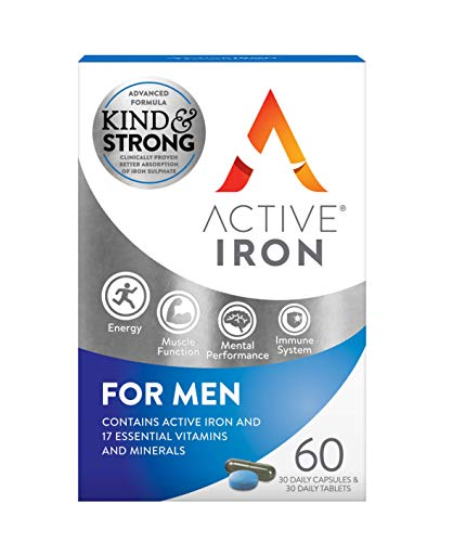 Active Iron For Men | 30 Iron Tablets & 30 Multivitamin Tablets | Iron Supplement With Zinc, Vitamin C, D and High Dose B Vitamins | 1-Month Supply