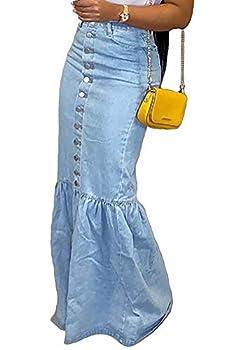 Vakkest Women s Casual Long Denim Skirts High Waist Slim Fit Button Down Summer Blue Jean Skirts
