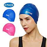 Aegend Unisex Swim Caps Cover Ears (2 Pack), Durable & Flexible Silicone Swimming Caps for Long Hair & Short Hair,Easy to Put On and Off, Blue Pink