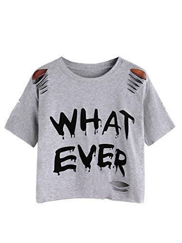 SweatyRocks Women's Short Sleeve T Shirt Graphic Print Distressed Crop Top Letter Grey Medium