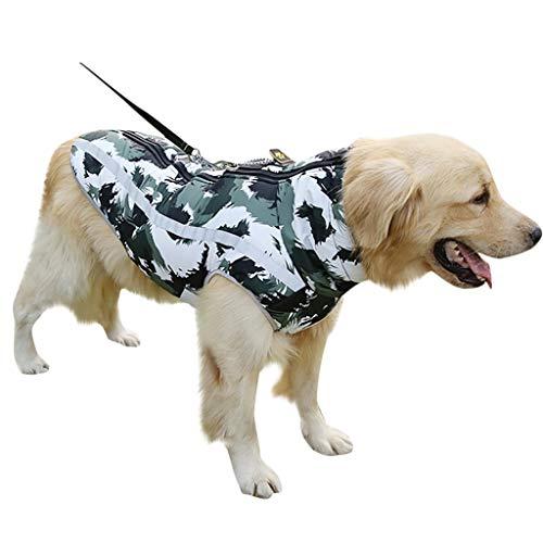 Fosspet Mascota Perro Ropa de Invierno Abrigo de Camuflaje, Reflectante - Cachorro Chaleco Motocicleta Caliente Traje para Perro Pequeño/Mediano/Grande (Verde, L)