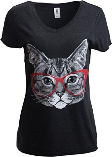 Katzenmotiv - lustiges Shirt mit süßem, frechem Kätzchen mit roter Linda-Belcher-Brille - V-Ausschnitt Damen T-Shirt-Vneck,XL