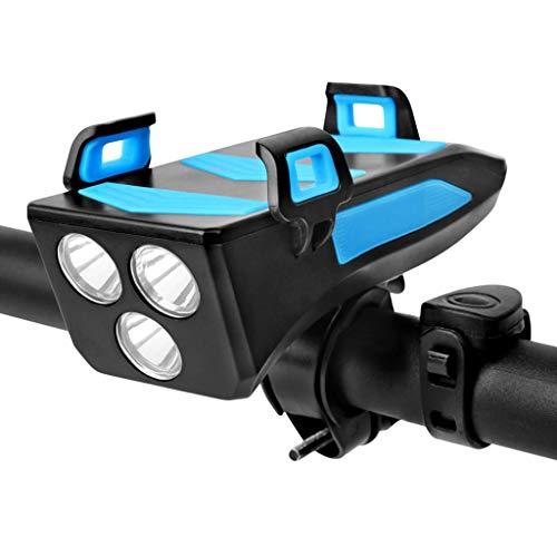 Gwxevce Wasserdichtes Fahrradlicht mit Fahrradhupe/Telefonhalter/Power Bank Fahrradbeleuchtung Blau