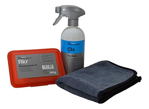 Lackreinigungs-Set - Koch Chemie Reinigungsknete rot (abrasiv) 200g + Clay Spray CLS 500ml + ADVANTUSE Mikrofasertuch
