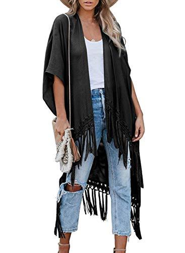 Aleumdr Damen Kimono Cardigan Strand Quaste Oversize Chiffon Bluse Tops Bikini Cover Up Schwarz