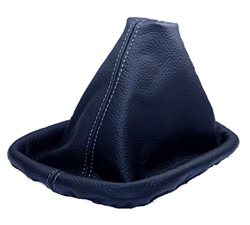 Inter-Sale L&P A0029 Soufflet Sac Manchette Manchon de Commutation 100% Cuir véritable veritable Noir Noire Couture Fil Gris Transmission Manuelle boîte Boite Vitesse Vitesses Changement Vitesse