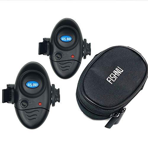 FISHNU 音量 調節可能な 釣り アラーム 防水 ナイロン ケース ギフト パッキング フィッシュ バイト アラーム インジケータ ボーナス用 10バッテリー ユーザー マニュアル が含まれています(2パック)