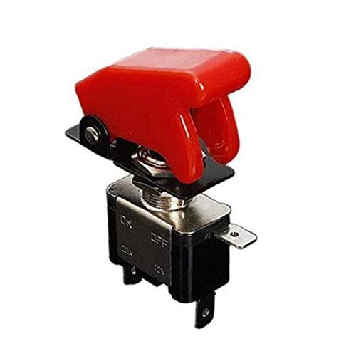 Rrunzfon Accesorios para el Maletero Tapa Roja ópticos Impermeables 1PC 20A 12V LED Rocker Interruptor de Palanca 2 Pin Encendido/Apagado Metal Bat