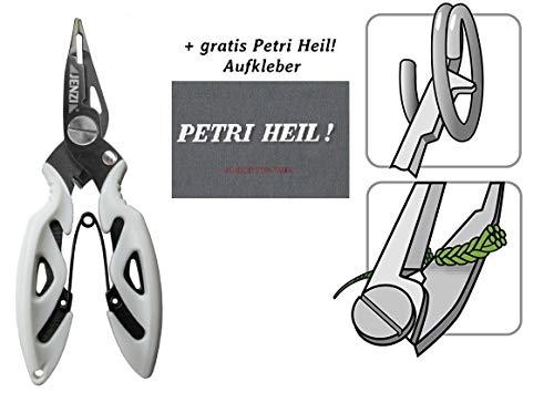 Jenzi Eine Schere für geflochtene und monofile Schnüre & Splitringfunktion für Micro-Splitringe + gratis Petri Heil! Aufkleber
