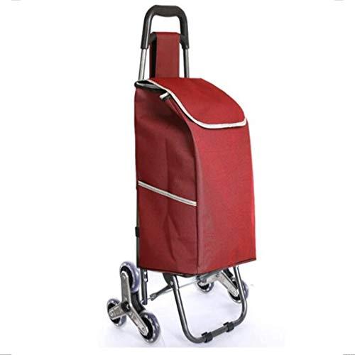 gujiu Carrito de la Tienda de Escalada de la Carretilla/Carro Plegable portátil, Marco de Pintura a Prueba de óxido, Bolsa de Oxford Impermeable, diseñada for el Camping de Viaje (Color : Red)