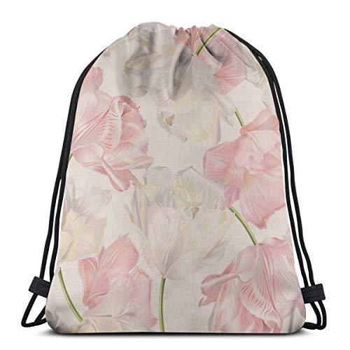Elsaone Pink Tulip Perfume Nature SPA Flower Spring Care Mochila con cordón gráfico para Mujer Saco de Gimnasia Bolso con cordón de Lona Ligero para Viajes Deportivos
