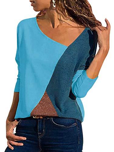 Damen Casual Patchwork Farbblock Langarm T-Shirt Asymmetrischer V-Ausschnitt Langarmshirt Tops Sweatshirt Tunika Top Pullover Bluse Oberteil (Himmelblau, Large)