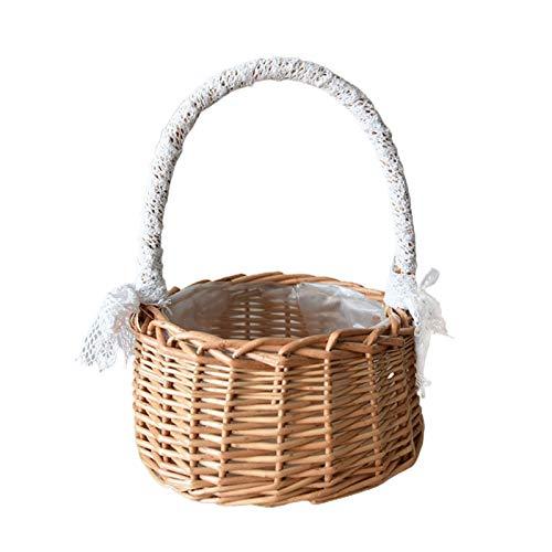 HANTURE Cesta de ratán para niña, cesta de flores portátil, cesta de ratán natural con asa para decoración de pared de jardín