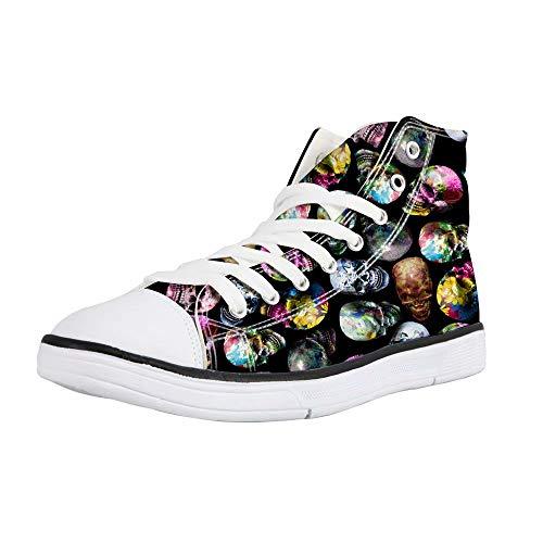 POLERO Canvas Sneaker High Top Turnschuh Textil Schuhe mit Totenkopf Nurse Bear Krankenschwester Muster für Unisex Erwachsene 36-46 EU