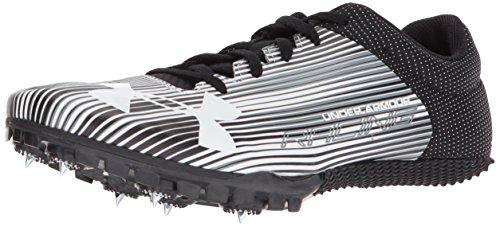 Under Armour Men's Kick Sprint Spike Running Shoe, White (100)/Black, 11.5