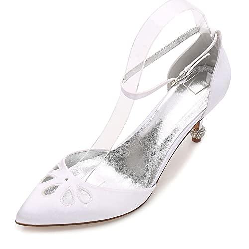 Zapatos de Tacón Bajo para Mujer Puntiagudo con Correa en el Tobillo...