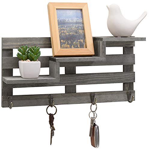 MyGift Vintage Gray Wood Wall-Mounted 3-Tiered Stair Display Shelf with 4 Key Hooks