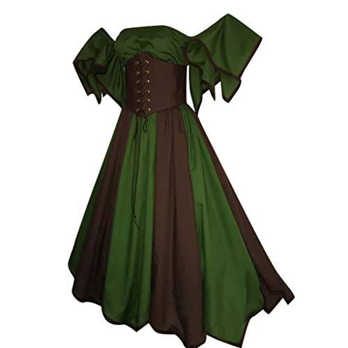 Vintage Short Petal Sleeve Dress Women Slash-Neck Medieval Cosplay Dress Green