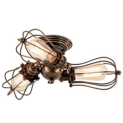 Vintage Ceiling Light with Ceramic Holder Retro Wire Cage Semi Flush Mount Ceiling Lights Industrial Home Indoor Light Fixture Adjustable Gladfresit Rustic Oil Rubbed Bronze 3 Light(Bulb Not Included)