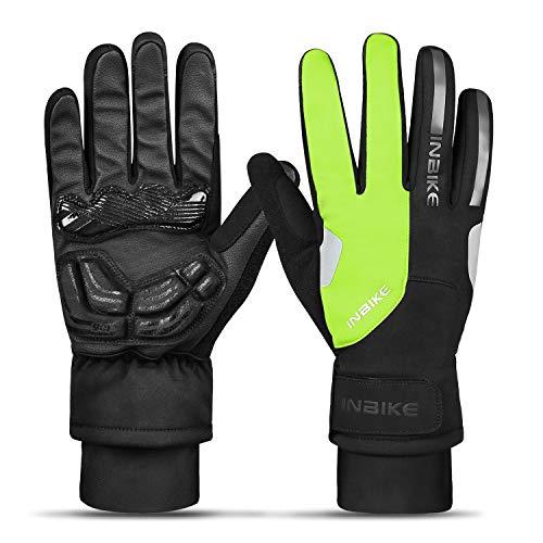 INBIKE Winterhandschuhe Herren Damen Ski Handschuhe Warm Fahrradhandschuhe Männer Winddicht Touchscreen Stoßdämpfende Reflektierend für Radsport Skifahren Snowboard Motorradfahren(Grün-Lang,M)